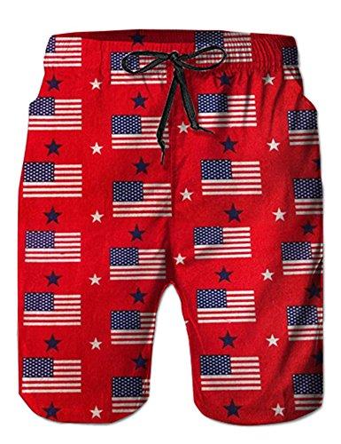 Loveternal American Flag Swim Trunks for Men 3D Printed USA 80s Mid Length Summer Mesh Beach Shorts with Drawsting M