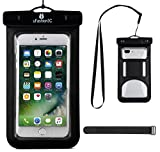 uFashion3C [Home Button Compatible] Universal Waterproof Case Bag Pouch [With Armband, Lanyard] for iPhone 7 7 Plus [IPX8 Certified to 100 Feet] (i7-Black)