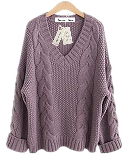 Season Show Womens Winter Ribbed V-neck Thick Plus Size Loose Knitted Pullover Sweater Light Purple L