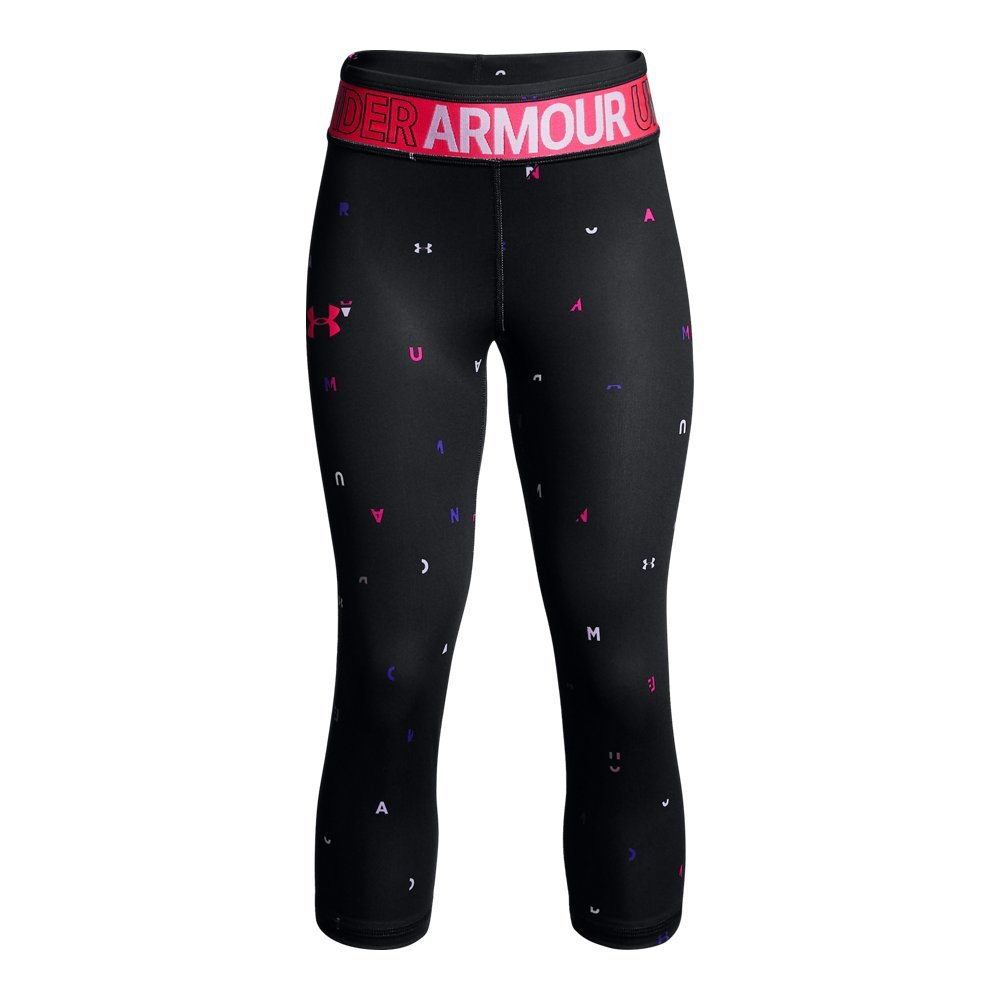 Under Armour Girls' HeatGear Armour Novelty Capris, Black (001)/Penta Pink, Youth X-Large by Under Armour