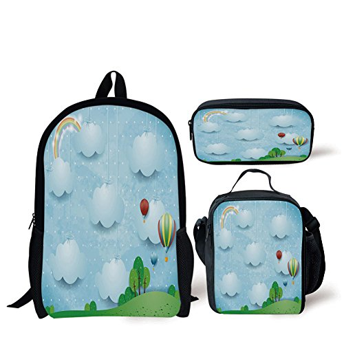 iPrint School Lunch Pen,Kids Decor,Boys Girls Nursery Room Decor with Balloons Clouds Stars on The Hillls Cartoon,Multicolor,Bags