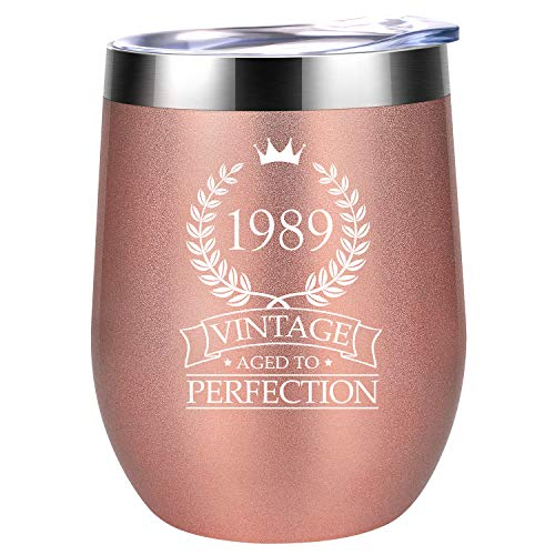 1989 30th Birthday Gifts for Women Men - Vintage Aged to Perfection - Coolife 12 oz Wine Tumbler Stainless Steel Insulated Cup - Anniversary Gift for Her, Him, Husband, Wife, Rose Gold