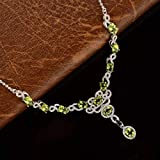 Eaglers Gemstones Necklaces Natural Peridot Gemstone Woman Solid Sterling Silver Pendant