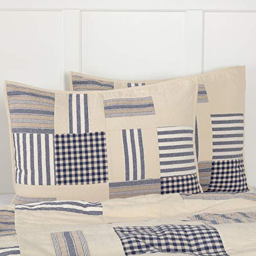 Piper Classics Doylestown Blue Standard Size Patchwork Bed Pillow Sham, Gingham Checks, Grain Sack & Ticking Stripes, Blue & Cream Vintage Farmhouse Bedding, Rustic Country, Cottage Bedroom