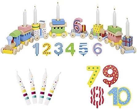 juego de 10 Blanco Die LuLuGoS Velas de desfile de animales y tren de cumplea/ños de Goki n/úmeros 1-10