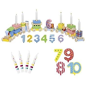 Die LuLuGoS Tren con velas de cumpleaños, velas del 1 al 10 ...