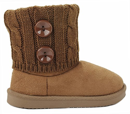 Kids Girl Lisa04 Tan Button Sweater Knit Cuff Faux Fur Lined Shearling Winter Ankle Boots-3