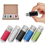 TOPESEL 5 Pack 8GB USB 2.0 Flash Drive Memory Stick Thumb Drives (5 Mixed Colors: Black Blue Green Red Silver)