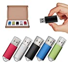 TOPESEL 5 Pack 1GB USB 2.0 Flash Drive Memory Stick Thumb Drives (5 Mixed Colors: Black Blue Green Red Silver)
