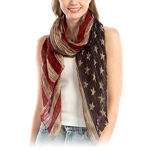 Me Plus Women USA Flag Print Lightweight Soft Spring Summer Long Scarf Shawl Wraps (USA Flag Print Vintage) ()