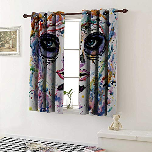 shenglv Sugar Skull Customized Curtains Halloween Girl with Sugar Skull Makeup Watercolor Painting Style Creepy Look Curtains for Kitchen Windows W63 x L45 Inch Multicolor -