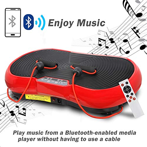 SUPER DEAL Crazy Work Out Fit Full Body Vibration Platform Massage Machine Fitness W/Bluetooth Red by SUPER DEAL (Image #8)
