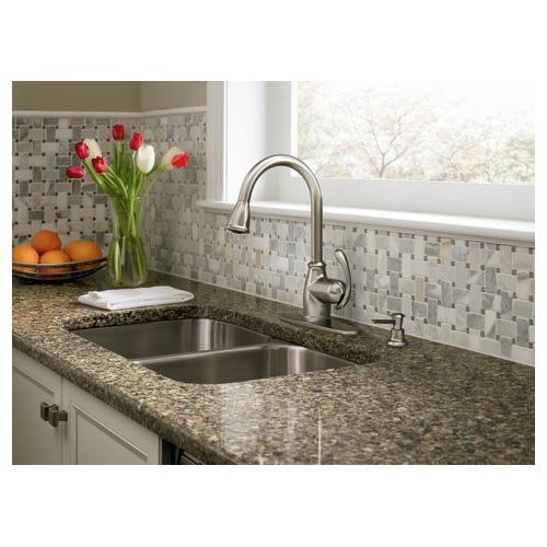 Moen CA87055SRS Single Handle Kitchen Faucet with Pullout Spray from ...