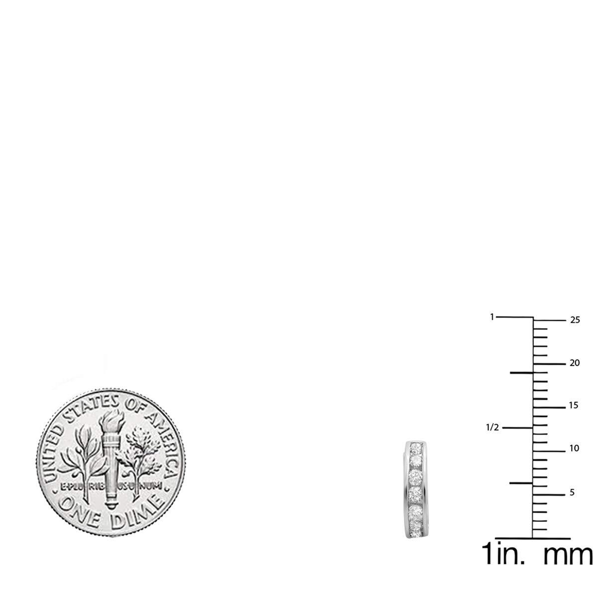 Dazzlingrock Collection 0.50 Carat (ctw) 10K Round Diamond Ladies Mens Unisex Huggie Hoop Earrings 1/2 CT, White Gold by Dazzlingrock Collection (Image #4)