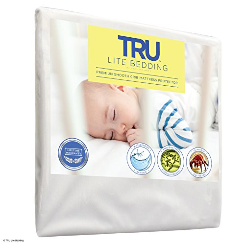 TRU Lite Bedding Mattress Protector, Premium Smooth Mattress Cover, 100 Percent Water-Proof, Hypoallergenic and Breathable, (Plastic Cover For Crib Mattress)