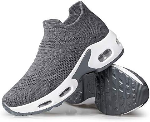 YHOON Women's Walking Shoes - Sock Sneakers Slip on Mesh Platform Air Cushion Athletic Shoes Work Nurse Comfortable