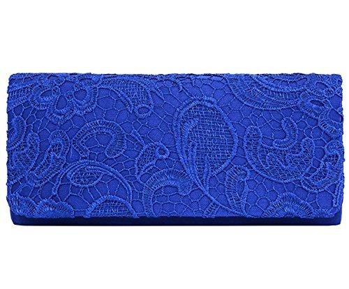 U-Story Women's Elegant Floral Lace Evening Party Clutch Bags Bridal Wedding Purse Handbag (Royal Blue)