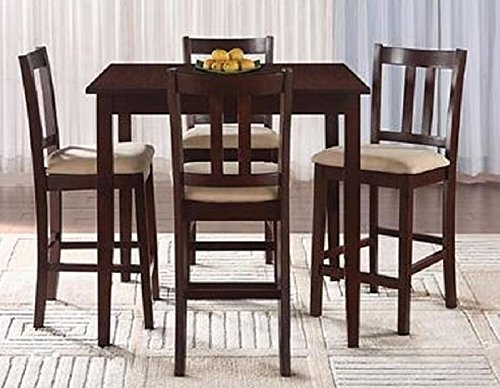 Small Dining Set Square Table 4 Chairs Wood Beige Cushioned Upholstery