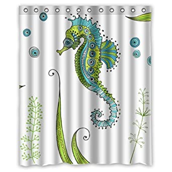 Amazon High Quality And New Fashion Seahorse Shower Curtain 60