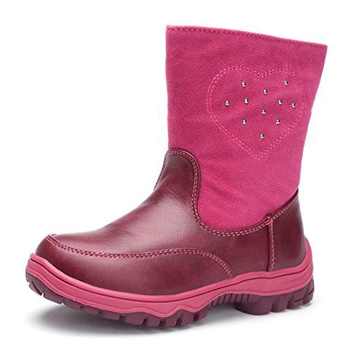 BTDREAM Toddler Girl's Zipper Snow Boots Outdoor Walking Warm Winter Fur Shoes Rose Size 30