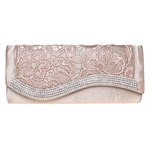 Clutch Rhinestone Womens Evening Apricot And Purses Party BaoLan Lace For Clutch Wedding wXqnA4xpxa
