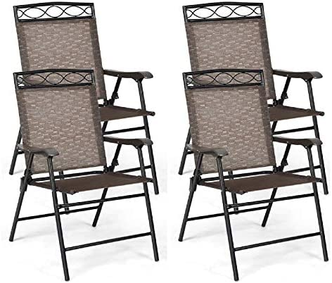 Happygrill 4-Piece Folding Chairs Outdoor Portable Dining Chair