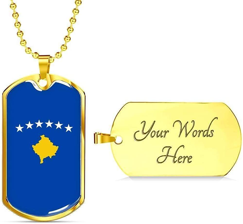 Kosovo Flag Love My Country Handmade Necklace Stainless Steel or 18k Gold Dog Ta