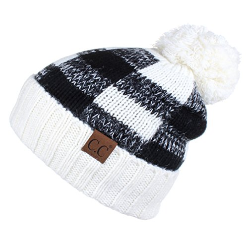 Hatsandscarf CC Exclusives Buffalo Check Pattern Fuzzy Lined Knit Pom Beanie Hat (HAT-55) - Hat 55 Size