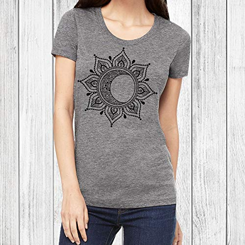 Graphic T Shirts for Women Moon Mandala Tshirt Junior Fit Tee 6 Colors ()