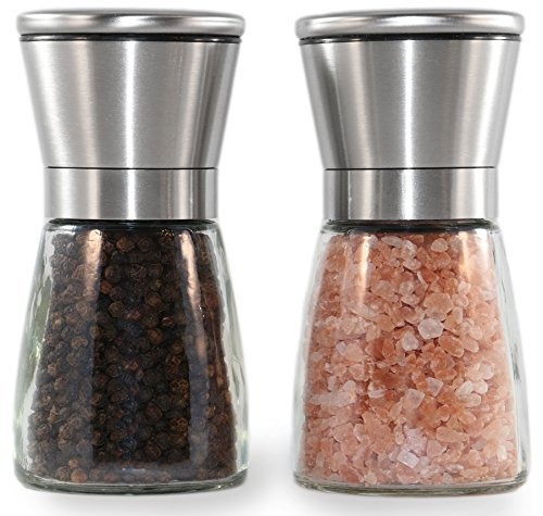Zavahome Stainless Steel Salt and Pepper Grinder Set - Mill Pair - Glass Body - Ceramic - Gift Classique Set