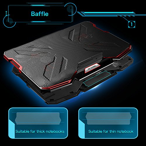 5 Fans Laptop Cooler, Portable Ultra-Slim Cooling Pad, with Red LED Light, Dual USB 2.0 Ports, Adjustable Mount Stand, Super Quiet and Strong Wind Speed Designed for Gamers and Office by Mkocean (Image #5)