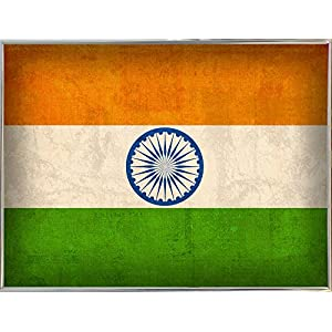 """India-BOWMAN117864 Print 11.25""""x15"""" by Red Atlas Designs in a Silver Metal Frame"""