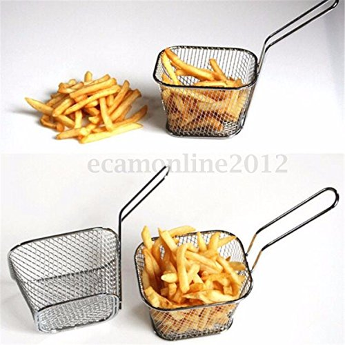 8Pcs Mini Wire French Fry Chips Baskets Net Strainer Kitchen Restaurant Cooking