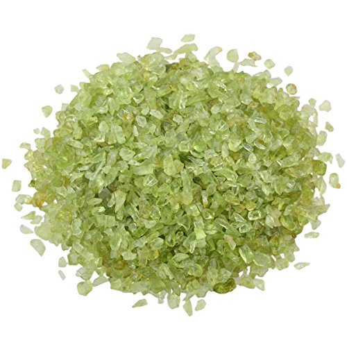 SUNYIK Peridot Tumbled Chips Stone Crushed Crystal Quartz Pieces Irregular Shaped Stones 1pound(About 460 Gram)