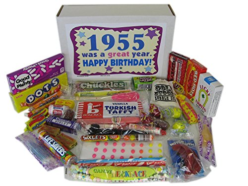 Woodstock Candy 63rd Birthday Gift Box of Nostalgic Retro Candy for a 63 Year Old Man or Woman Born in 1955 - Decade 50s Jr