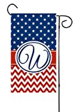 """Unique Textile Printing Patriotic American Stars & Chevron, 4th of July or Memorial Day Initial Garden Flag 12""""x18"""" Letter: W"""