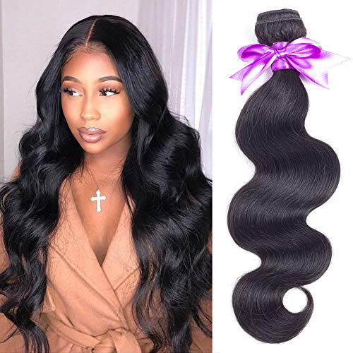 Snow Hair Brazilian Body Wave 1 Bundle Deal 10 inch 10A Unprocessed Virgin Brazilian Real Virgin Human Hair Natural Black Color 100g/bundle ()