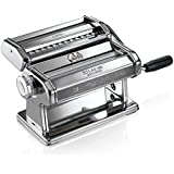 Marcato 8341 Atlas 180 Pasta, Made in Italy, Stainless Steel, 180-Millimeters Wide, Includes Machine with Cutter, Hand Crank, and Instructions, 180mm