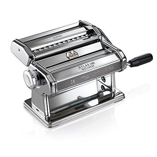 Marcato Atlas 180 Pasta, Made in Italy, Stainless Steel, 180-Millimeters Wide, Includes Machine with Cutter, Hand Crank, and Instructions, 180mm