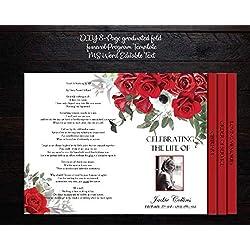 Graduated Fold Funeral Program Template   Memorial Program   Editable   Red Roses Florals