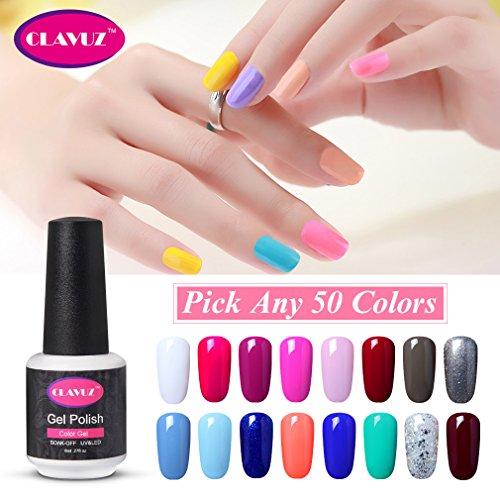 CLAVUZ Soak Off UV Gel Nail Polish Set Pick Any 50 Colors Collections Nail Lacquer Professional Beauty Salon Nail Art Kit Top and Base Coat can Pick -