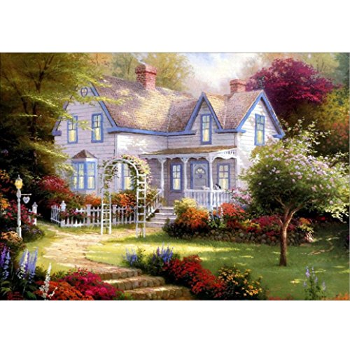 Franterd Villa - DIY 5D Diamond Painting By Number Kits - Paint with Diamonds Cross Stitch - Embroidery Crystal Rhinestone Pasted Drilled Arts Craft for Home -