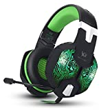Jeecoo Stereo PC Gaming Headset 7 Colors Breathing LED Light Over-ear Headphones with Microphone Inflected for Computer Games (Green)