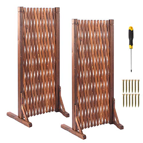 uyoyous 2 Pcs Garden Fence Wood Expanding Fence Gate Panel for Home Yard Garden Plant Climb Trellis partition Decorative