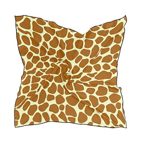 MAHU Women's Square Scarf Animal Giraffe Print Fashion Lightweight Hair Wrap Tidy Kerchief, 60x60 cm