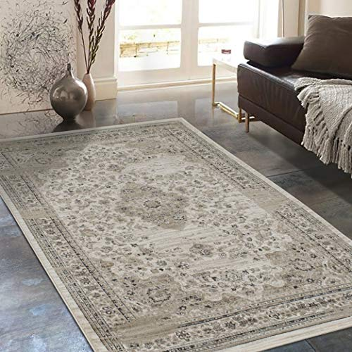 Allstar 8x10 Ivory Traditional Rectangular Accent Rug with Weathered Beige Persian Bordered Medallion Design (7' 6