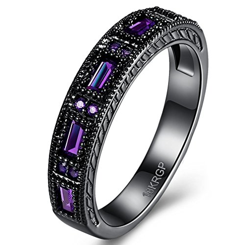 Jewelry Womens and Mens Created Purple Amethyst Diamonds Tungsten Stainless Steel Black Gold Plated Christmas Best Friend Engagement Wedding CZ Rings for Womens Size 6 (Steel Created Ring Amethyst Stainless)