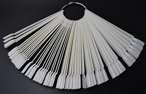 (50 Tips Fan Shape White Plastic Nail Art Tips Display Polish Board Display Practice Sticks with Metal Split Ring Holder)