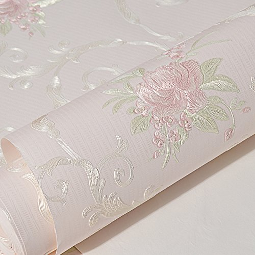 Non-woven Decorative Flower Contact Paper Self Adhesive Luxury Embossed Floral Peel and Stick Wallpaper for Wall Livingroom Bedroom Crafts Wall Decor 20.83 Inches by 9.8 Feet by Glow4u (Image #1)