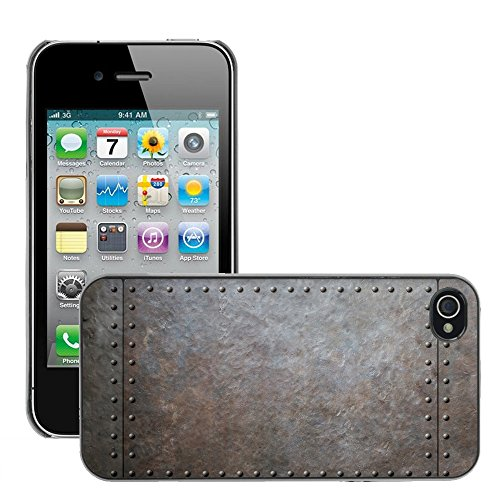 Premio Sottile Slim Cassa Custodia Case Cover Shell // V00002780 des rivets métalliques // Apple iPhone 4 4S 4G